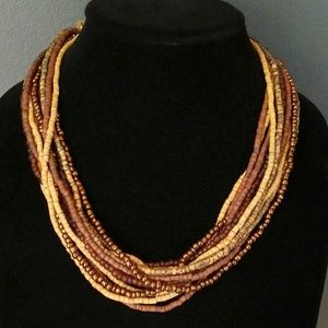 12 strand layered earthy look necklace